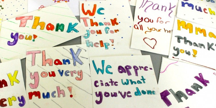 Hand-made thank-you cards from grateful students of Marymount Academy.
