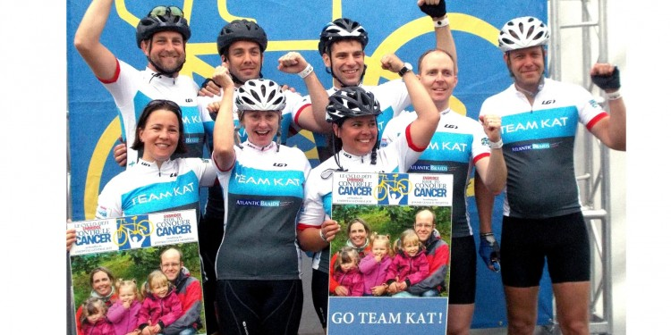 Alister Moore (far right) joins his friends on Team Kat in the Enbridge Ride to Conquer Cancer.