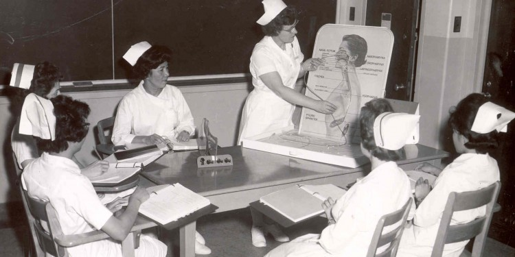 Nursing students in class in the mid-1960s in the JGH School of Nursing.