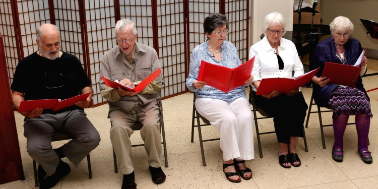 One of the novel aspects of the 2015 JGH Mini-Med School was the staged reading of a play, written and directed by Terry Griffin-Burman, with musical accompaniment by cellist Rachel Burman. The production, about the emotional ups and downs of the elderly, starred (from left) Pasquale DeBlasio, Dan Delaney, Patricia Delaney, Sheila Moriarity and Nancy Cree.