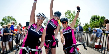 Team spirit at the finish line in the 2015 Enbridge Ride to Conquer Cancer