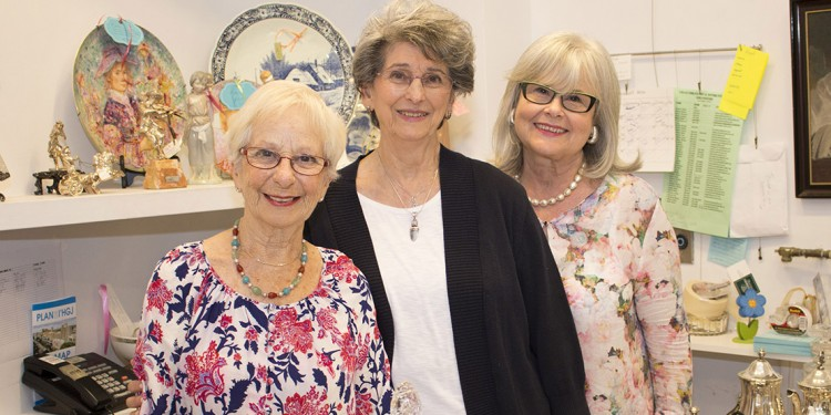 After getting together to reminisce about their experiences in the JGH Auxiliary, three former Presidents—(from left) Rachelle Douek, Rona Miller and Lucy Wolkove—visited The Auxiliary's Art and Antique Shop.