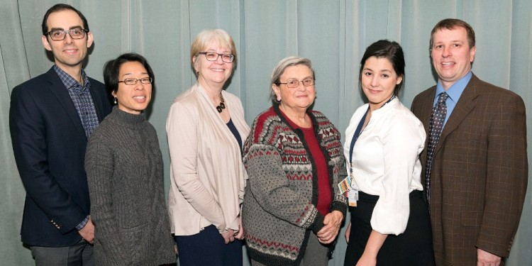 Among the participants in the 12th Annual Psychiatry Research Day were (from left) Dr. Marc Miresco, a JGH psychiatrist; Dr. Nancy Low, Assistant Professor in the Department of Psychiatry at McGill University, who served as discussant; Dr. Phyllis Zelkowitz, Director of Research in the JGH Department of Psychiatry; Anita David, President of the Gustav Levinschi Foundation; Ashley Tritt, a McGill University medical student; and Dr. David Dunkley, who coordinated the event.