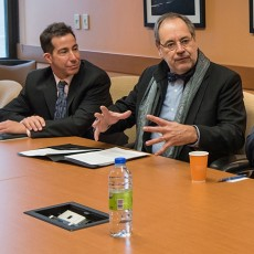 Participating in the news conference on research into Alzheimer's disease were (from left) Anthony Housefather, MP for Mount Royal; Dr. Yves Joanette, Scientific Director of the CIHR Institute of Aging; Alan Maislin, President of the Board of Directors of CIUSSS West-Central Montreal; Dr. Yves Joanette; and Dr. Howard Chertkow, Senior LDI Investigator.