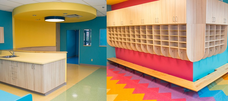 Two views of the renovated space in Pavilion N that will serve as a day care centre for the children of staff of CIUSSS West-Central Montreal and neighbourhood families.