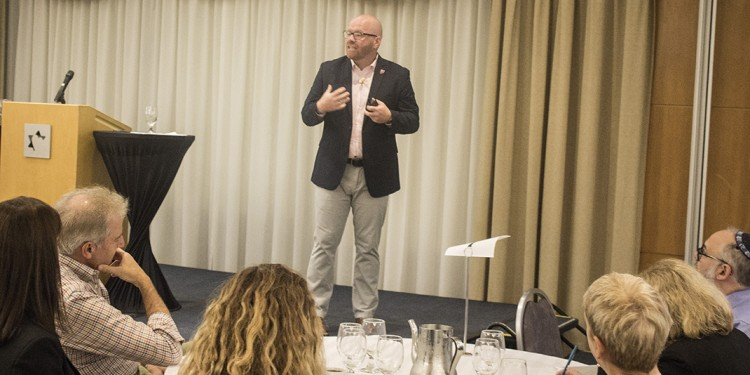 Alan Manning, Executive Vice-President of Planetree, addresses CIUSSS directors and senior managers at the Gelber Conference Centre.