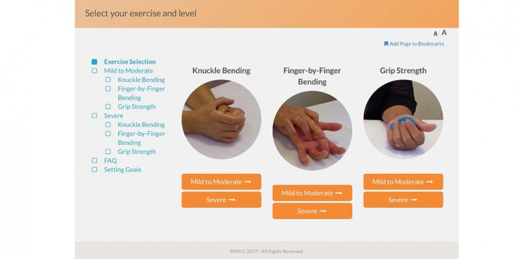 Online page—explaining how individuals with scleroderma can maintain hand function—from the first online toolkit by the Scleroderma Patient-centered Intervention Network.