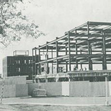 By summer 1968, work is well under way to simultaneously erect the Institute of Community and Family Psychiatry (rear) and the Lady Davis Institute (foreground), both of which opened in 1969. The buildings are separated by Légaré Street, with Côte-Sainte-Catherine Road just past the photo's left-hand border.