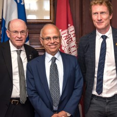 Dr. Michael Pollak (second from left) attends the launch of the Metastatic Breast Cancer Dream Team with (from left) co-leader Dr. Nahum Sonenberg; Marc Miller, Parliamentary Secretary for Crown-Indigenous Relations; and Suzanne Fortier, Principal of McGill University.