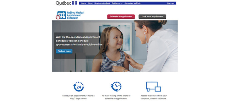 Home page of the website for the Quebec Medical Appointment Scheduler.