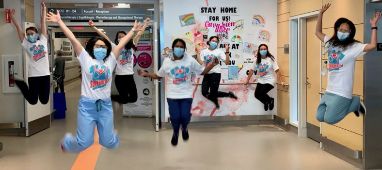 """In a photo that she submitted to the CIUSSS's """"A Shot of Happiness"""" competition for staff, Alyssa Pambuan, a JGH Nurse and Stroke Team Coordinator, captured her team's camaraderie during the COVID-19 pandemic. (Click on photo to see a larger version.)"""