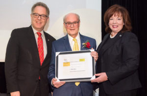 In November 2017, Myer Bick (centre) accepted the Outstanding Career in Philanthropy Award from Marc Weinstein, Vice-Principal of University Advancement at McGill University, and Luce Moreau, President of the Quebec branch of the Association of Fundraising Professionals. (Photo: Mélissa Vincelli)
