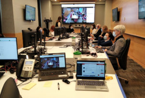During the first phase of the C4 Command Centre, directors and senior administrators gathered in the JGH board room to examine data about healthcare users across CIUSSS West-Central Montreal. (Click to enlarge any photo.)