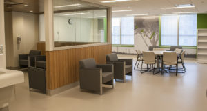 An activity room in the newly renovated Psychiatry Inpatient Unit. Though located in Pavilion B, the unit bears a striking resemblance to the design of certain areas in Pavilion K.